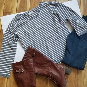 3/$30 MADEWELL Blue & Ivory Striped Knit Top